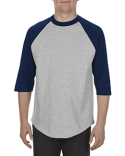 AL1334 Alstyle Adult 6.0 oz., 100% Cotton 3/4 Raglan T-Shirt